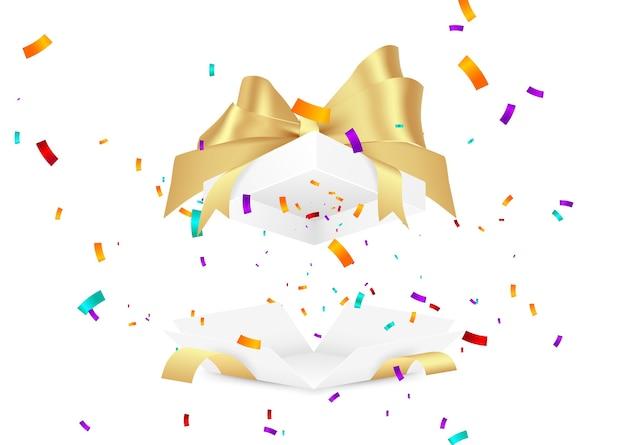 Coffret Cadeau Surprise. Illustration De Confettis Tombant. Vecteur Premium