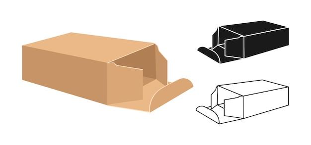 Coffret De Modèle Collection De Coffrets Cadeaux D'emballage De Style Glyphe Linéaire Et Noir Vecteur Premium