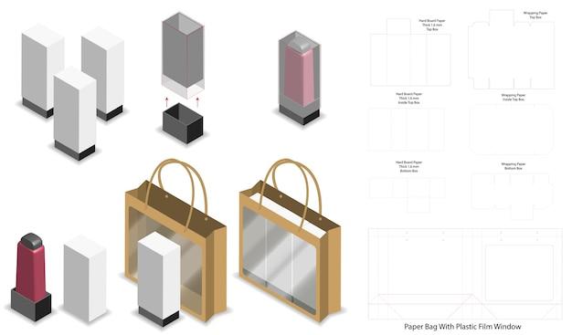 Coffret et sac papier set maquette avec dieline Vecteur Premium