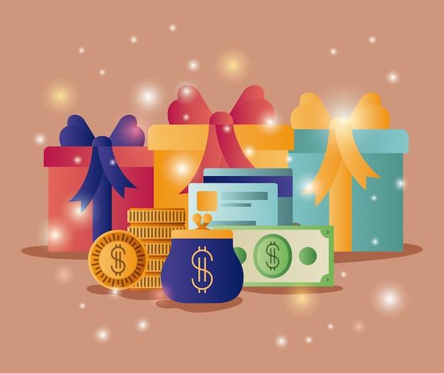 Coffrets cadeaux avec des icônes commerciales Vecteur Premium
