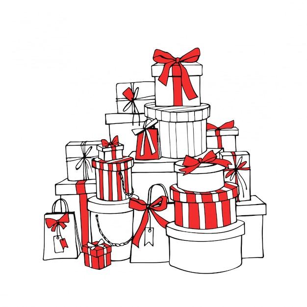 Coffrets-cadeaux de noël avec des rubans et des arcs rouges. Vecteur Premium