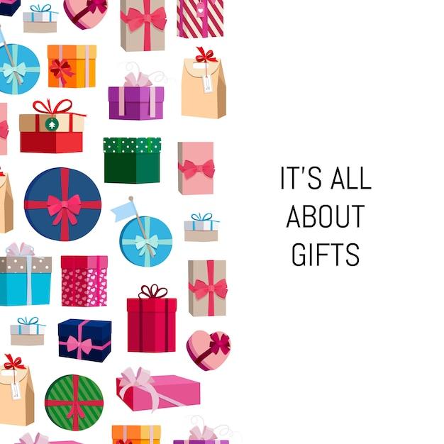 Coffrets cadeaux ou paquets avec place pour le texte Vecteur Premium