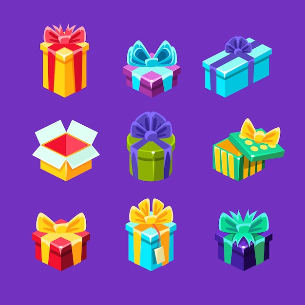 Coffrets Cadeaux Avec Et Sans Cadeau à L'intérieur D'une Collection De Cartons Emballés Décoratifs Vecteur Premium