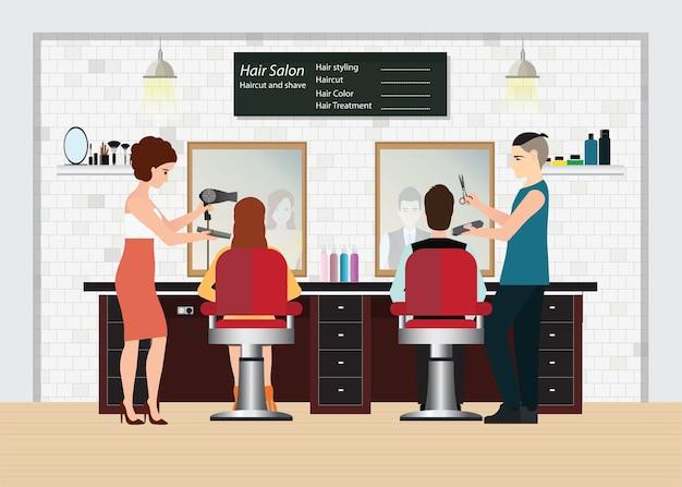 Coiffeur coupe les cheveux du client dans le salon de beauté Vecteur Premium