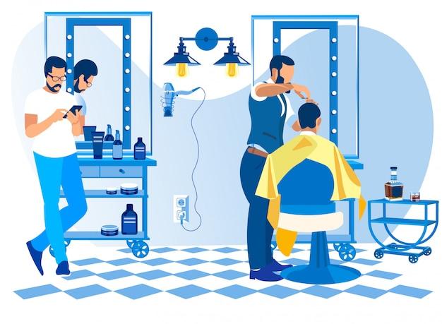 Coiffeur faisant la coupe de client dans le salon de coiffure Vecteur Premium