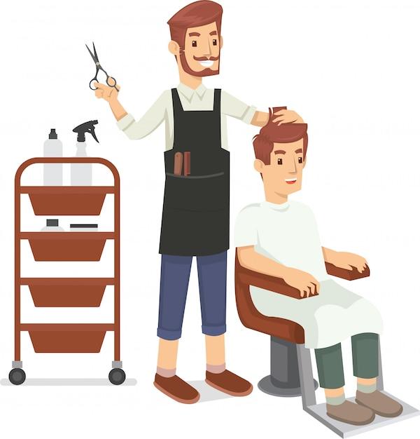 Un Coiffeur Rase Les Cheveux Du Client Vecteur Premium