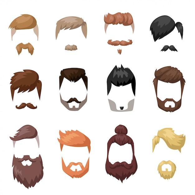 Coiffures barbe et les cheveux coupés masque plat collection de bandes dessinées Vecteur Premium