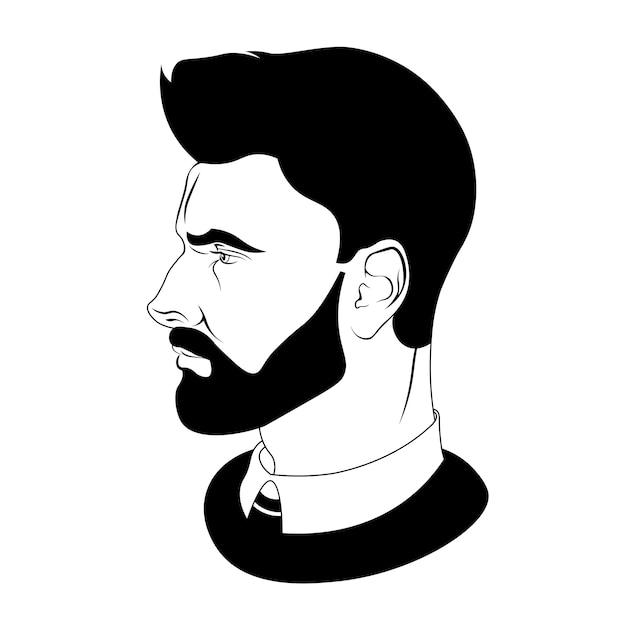 Coiffures pour les silhouettes men.black de coiffures et barbes. illustration vectorielle pour coiffeur. Vecteur Premium