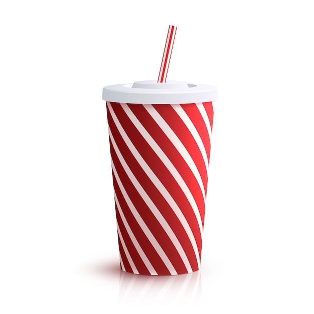 Cola verre rayé Vecteur Premium