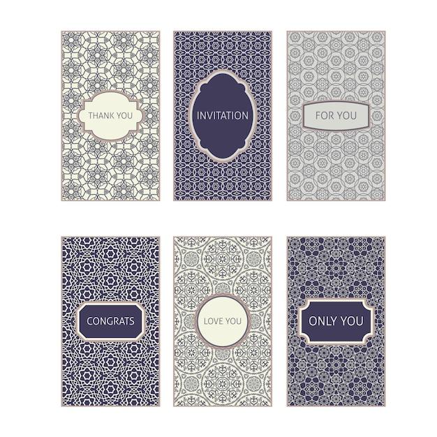 Colection carte vintage orné d'ornement Vecteur Premium