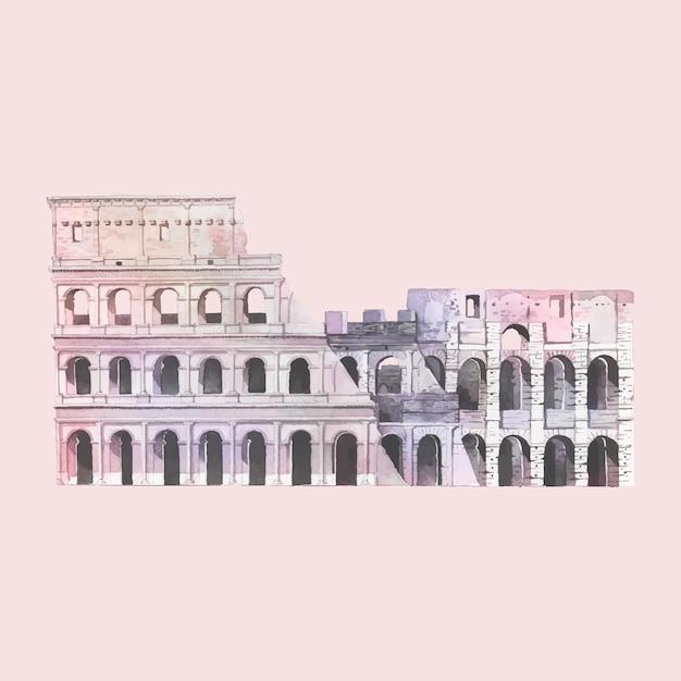 Le Colisée Romain à Rome Illustration Aquarelle Vecteur gratuit