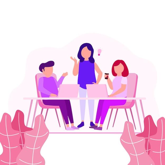 Collaboration travail illustration jeunes créatifs activité partager une idée Vecteur Premium