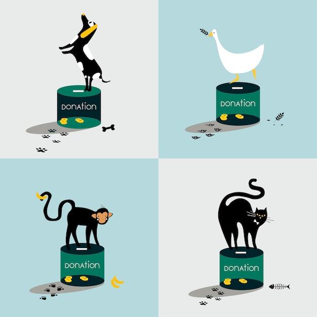 Collage d'animaux debout sur une boîte de dons Vecteur gratuit
