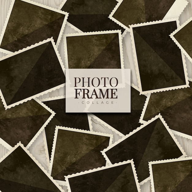 Collage de cadre photo dans un style réaliste Vecteur gratuit