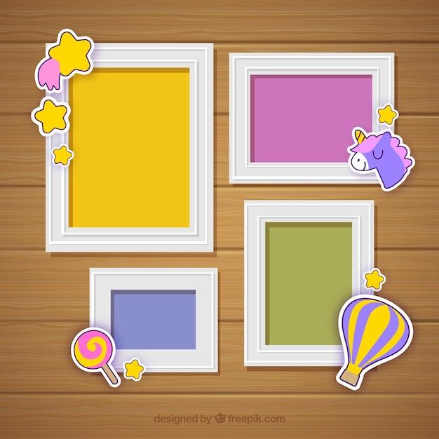 Collage de cadre photo avec un design plat Vecteur gratuit