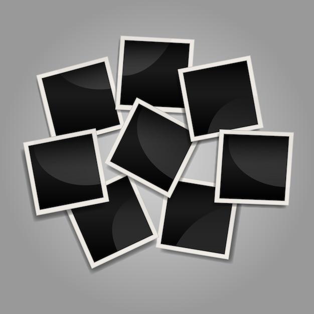 Collage de cadre photo instantanée désordonné avec un design plat Vecteur gratuit