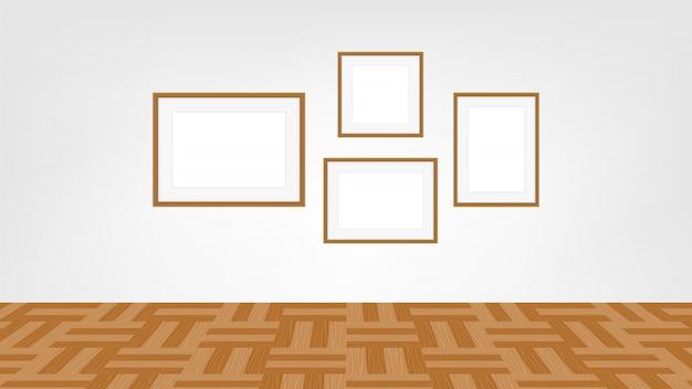 Collage cadres photo sur la salle de mur, collection de cadre de portrait Vecteur Premium