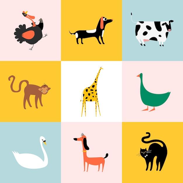Collage de différents types d'animaux Vecteur gratuit