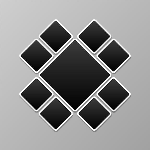 Collage de photos, modèle de cadres Vecteur Premium
