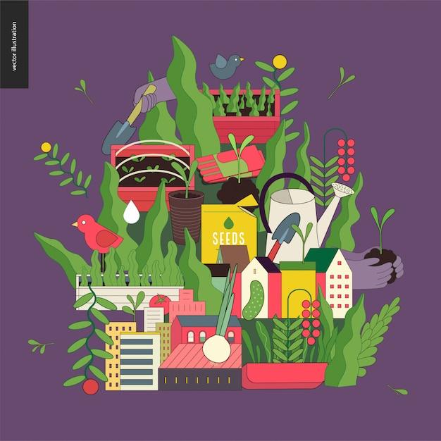 Collage urbain d'agriculture et de jardinage Vecteur Premium