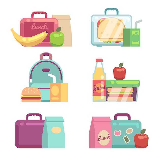 Collations Pour Enfants. Jeu De Boîtes à Lunch Scolaires Vectorielles. Conteneur Avec Illustration Dîner, Lunchbox Et Lunchtime Vecteur Premium