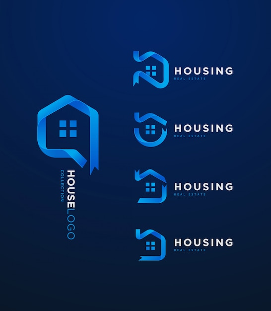 Collecion logo maison 3d ruban dégradé bleu Vecteur Premium