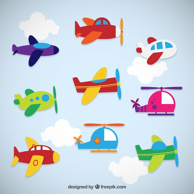 La collecte des avions colorées Vecteur Premium