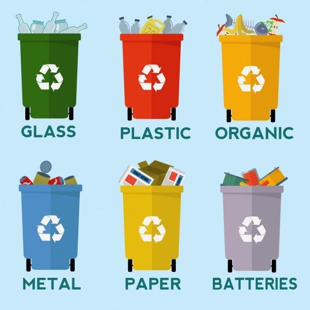 La collecte des bacs de recyclage Vecteur gratuit