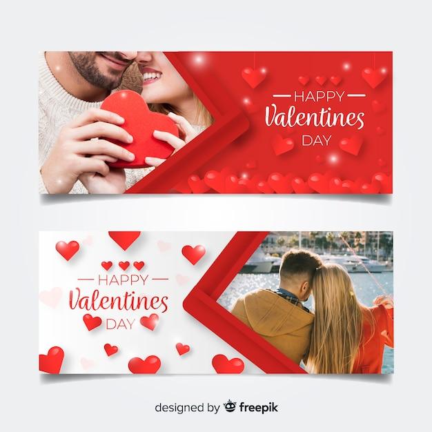 Collecte de bannière web saint-valentin Vecteur gratuit