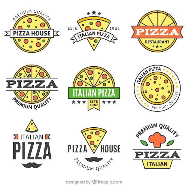 Collecte Complète De Logo De Pizza Vecteur gratuit
