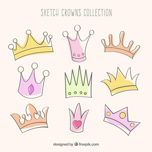 Collecte de couronnes sketchy Vecteur gratuit