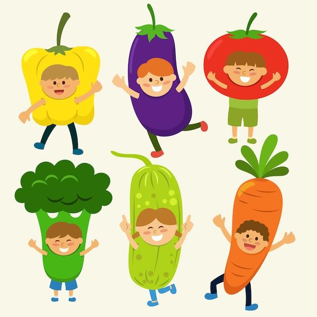 Collecte de costumes de légumes Vecteur gratuit