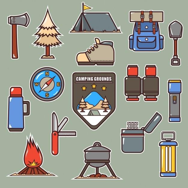 La collecte des éléments de camping Vecteur gratuit