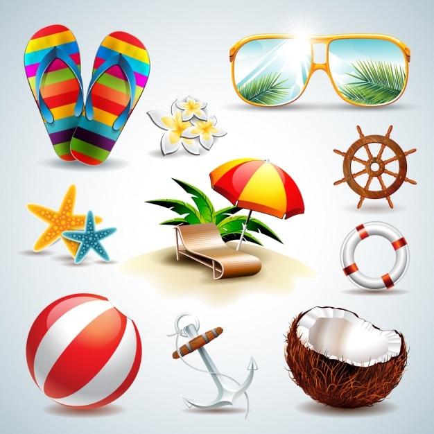 La collecte des éléments d'été Vecteur gratuit