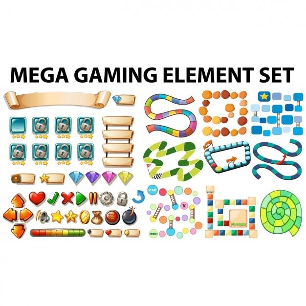 La collecte des éléments de jeu Vecteur Premium