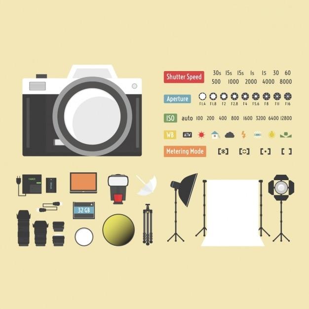 La collecte des éléments de photographie Vecteur gratuit