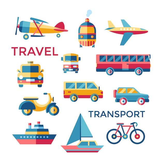 Collecte d'éléments de transport Vecteur gratuit