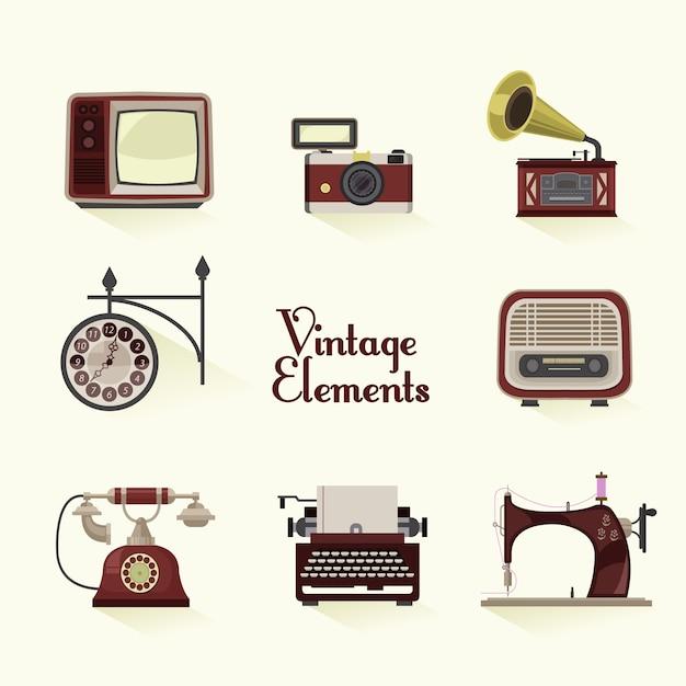 La collecte des éléments vintage Vecteur gratuit