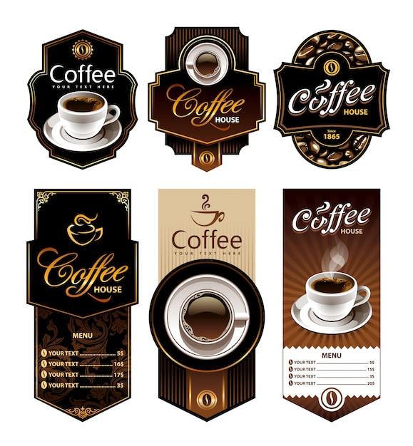 La Collecte Des étiquettes De Café Vecteur Premium