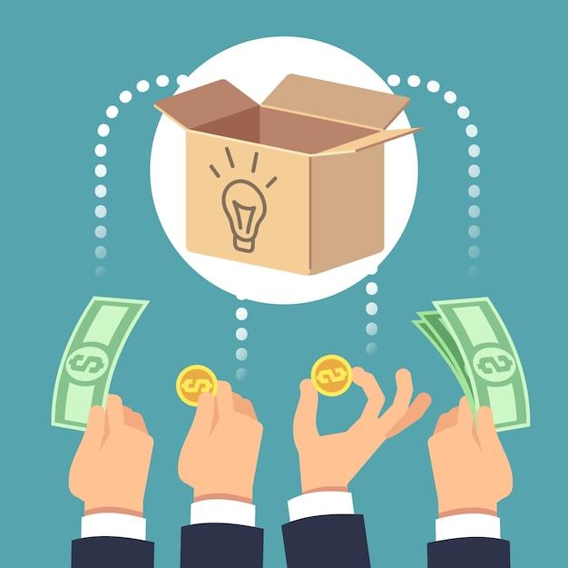 Collecte De Fonds Auprès D'entreprises Sociales Et Investissement Dans De Nouvelles Idées. Vecteur Premium