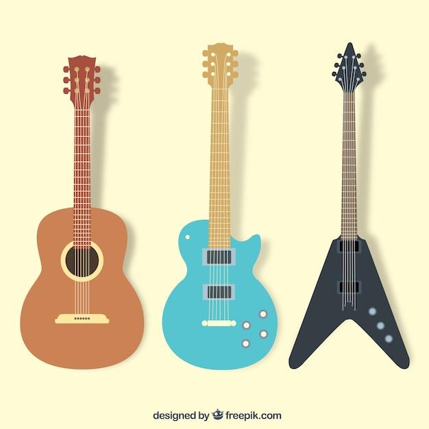 La collecte des guitars Vecteur gratuit