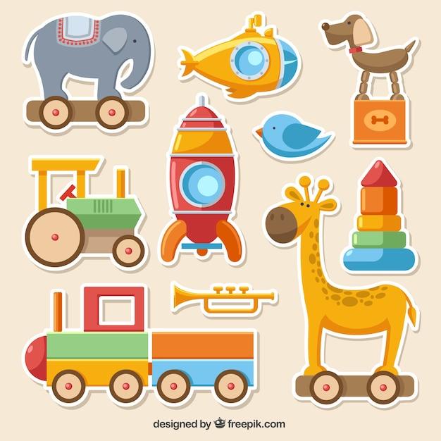 Collecte de jouets colorés Vecteur gratuit