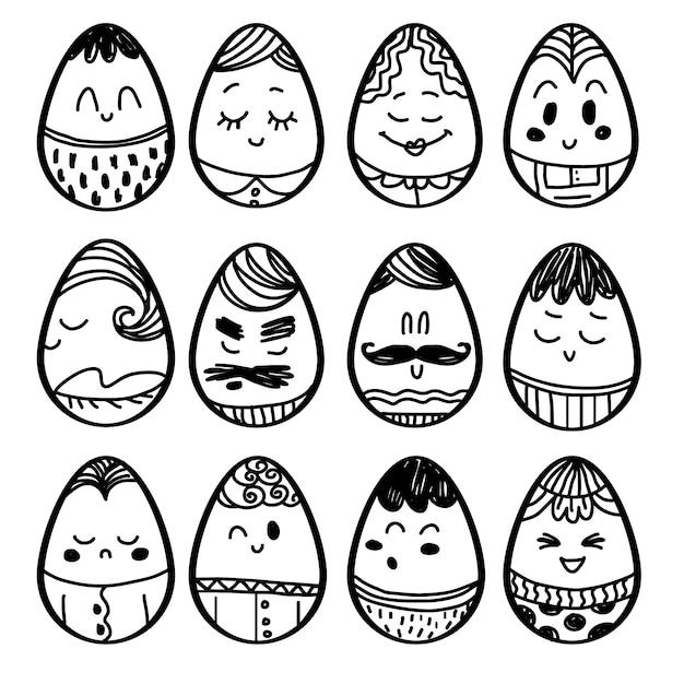 La collecte des œufs dessinés à la main Vecteur gratuit