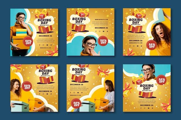 Collecte De Poste De Boxe Day Ig Vecteur gratuit