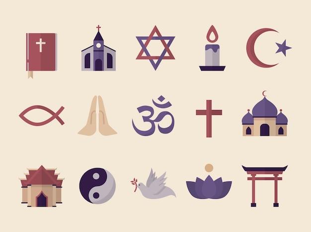 Collecte De Symboles Religieux Illustrés Vecteur gratuit