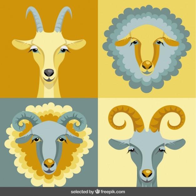 La collecte des têtes de chèvre Vecteur gratuit