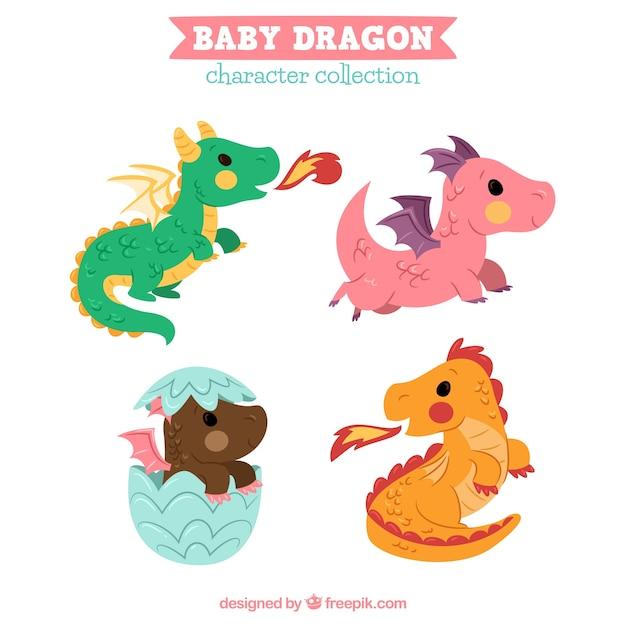 Collectio de personnage de dragon bébé dessinés à la main Vecteur gratuit