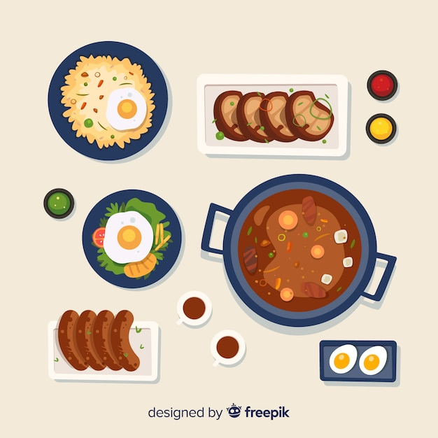 Collectio plat de nourriture Vecteur gratuit