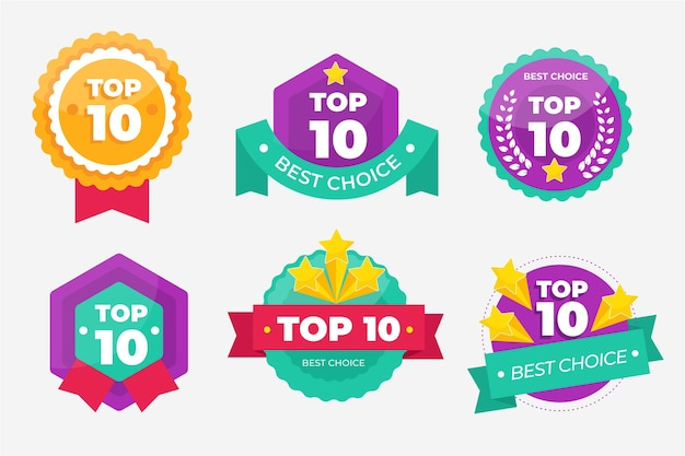 Collection Des 10 Meilleurs Badges Vecteur gratuit