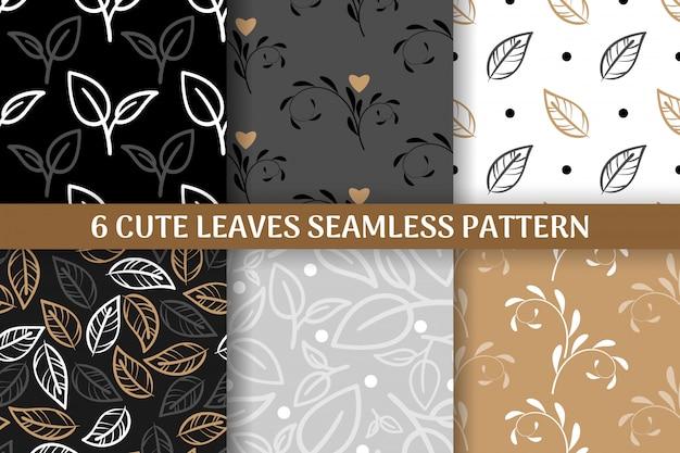 Collection de 6 feuilles mignonnes modèle sans couture. Vecteur Premium